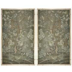 Pair of Contemporary Wallpaper Panels in Custom Carved Wood Frame