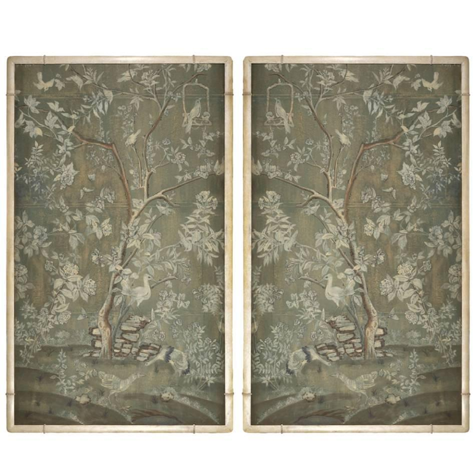 Decorative Wallpaper Panels : Pair of contemporary wallpaper panels in custom carved