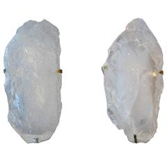 Pair of Natural Rock Crystal Sconces