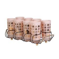 Vintage Pink Clover Cocktail Glassware Set