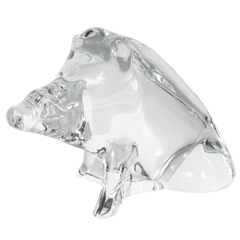 Modernist Baccarat Crystal Sculpture of a Wild Boar or a Razorback For Sale