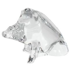 Modernist Baccarat Crystal Sculpture of a Wild Boar or a Razorback