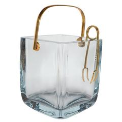Cartier Glass Ice Bucket or Pail in Sterling with Gilt Handle and Tongs