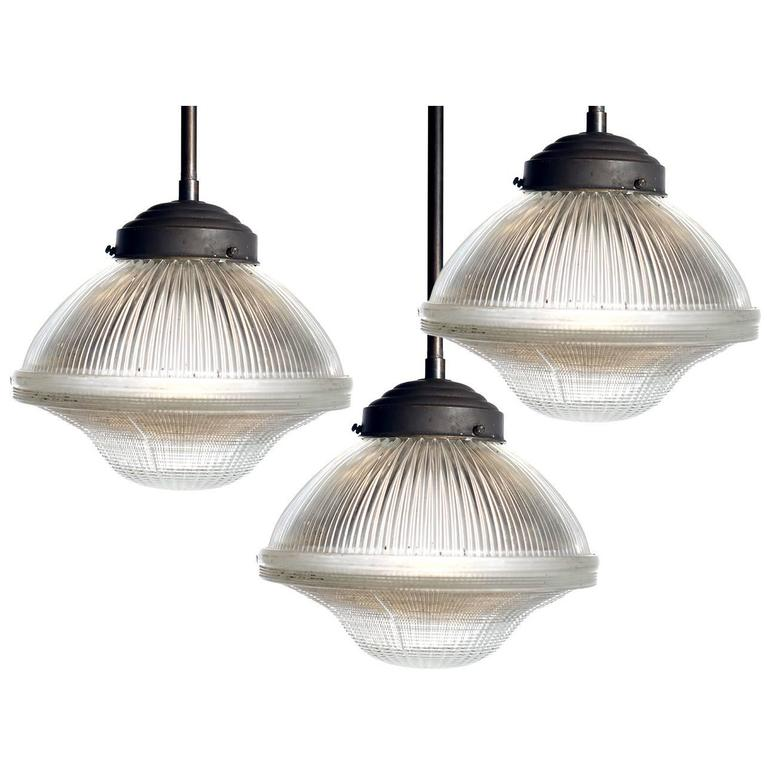 large dome and bell holophane pendants at 1stdibs