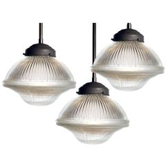 Large Dome and Bell Holophane Pendants