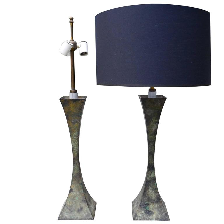 Mid-Century Modern Patina Bronze Table Lamps by Stewart Ross James for Hansen