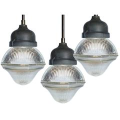 Dome and Bell Holophane Pendants