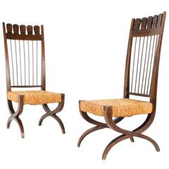 Stunning Pair of Side Chairs Attributed to the Work of Paolo Buffa