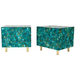Pair of Turquoise Nightstands by Kam Tin