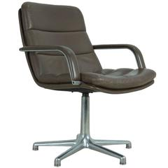 Artifort Leather and Cast Aluminum Desk Chair