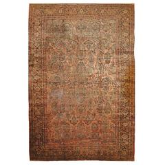 Large Antique Hand-Knotted Persian Sarouk Rug