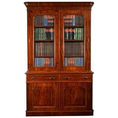 Victorian Mahogany Two-Door Bookcase
