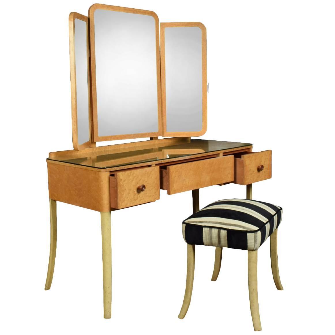 Art deco bird s eye maple dressing table at stdibs
