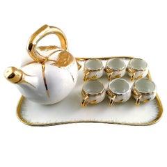 P. Pastaud for Limoges, France, Tea / Mocha / Sake Set of Six Pieces on Tray