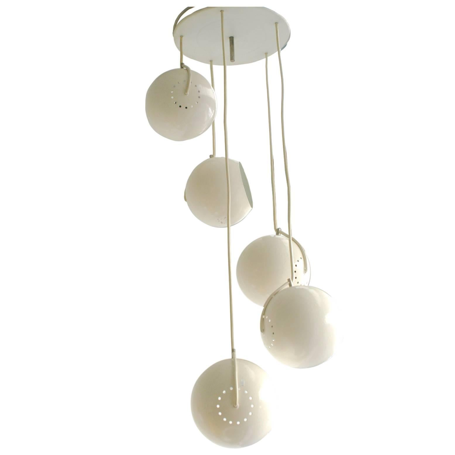Italian Space Age white Lacquered Five Tier Cascade Chandelier by Reggiani