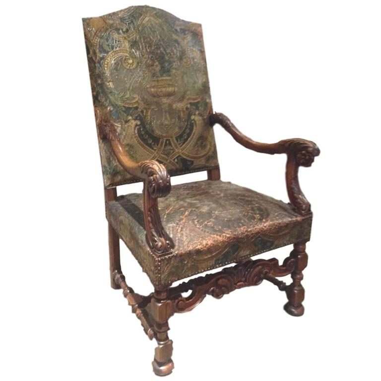 19th Century French Embossed Leather Throne Chair For Sale - 19th Century French Embossed Leather Throne Chair For Sale At 1stdibs