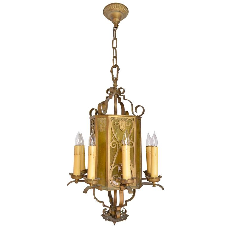 Cast Brass Eight-Candle Chandelier with Yellow Slag Glass