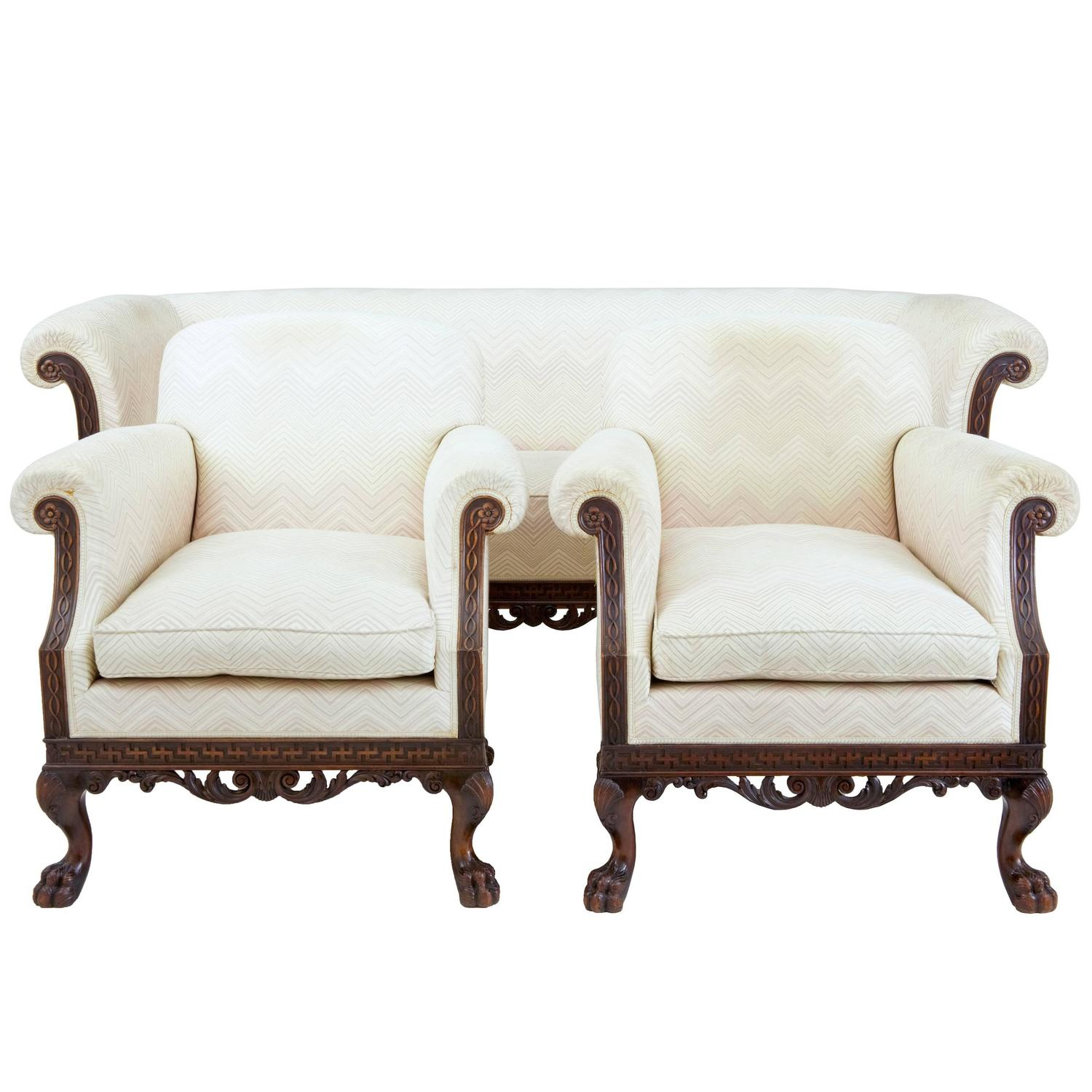 Early 20th Century Chippendale Influenced Three Piece Suite Sofa Chairs For Sale At 1stdibs