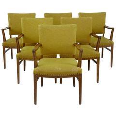 Set of Six Fine 1950s Oak Armchairs