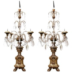 Pair of Early 20th Century Italian Gold Leaf Candlesticks with Crystal and Glass
