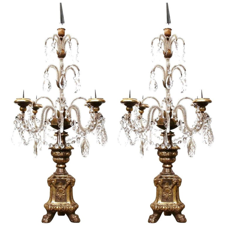 Pair of Early 20th Century Italian Gold Leaf Candlesticks with Crystal and Glass For Sale