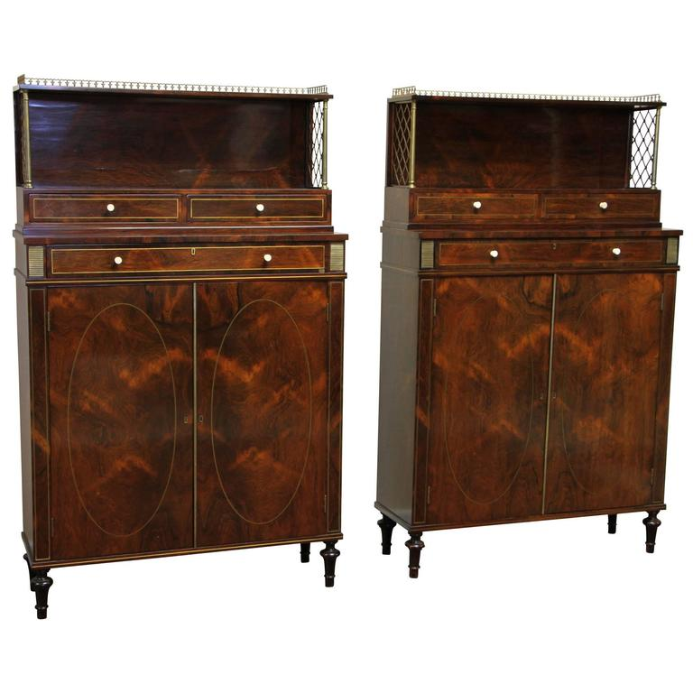 Pair of 19th Century Regency Style Tall Serving Cabinets