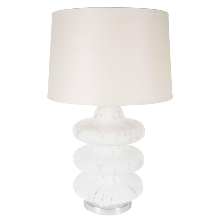 Mid-Century Mottled Frosted and Satin Murano TOTEM Table Lamp by Vistosi