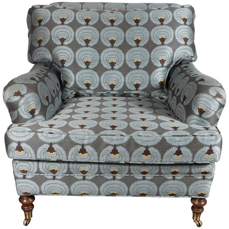 classic george smith club chair with art nouveau style fabric for
