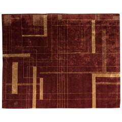 Art Deco Style Nepalese Hand-Knotted Carpet / Rug with Lineal Art Deco Design