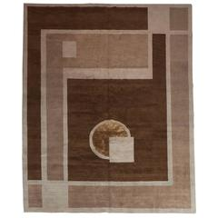 Art Deco Style Nepalese Hand-Knotted Carpet / Rug in Hues of Brown Topaz