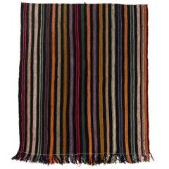 Vintage Kilim with Stripes. Wool Floor Covering