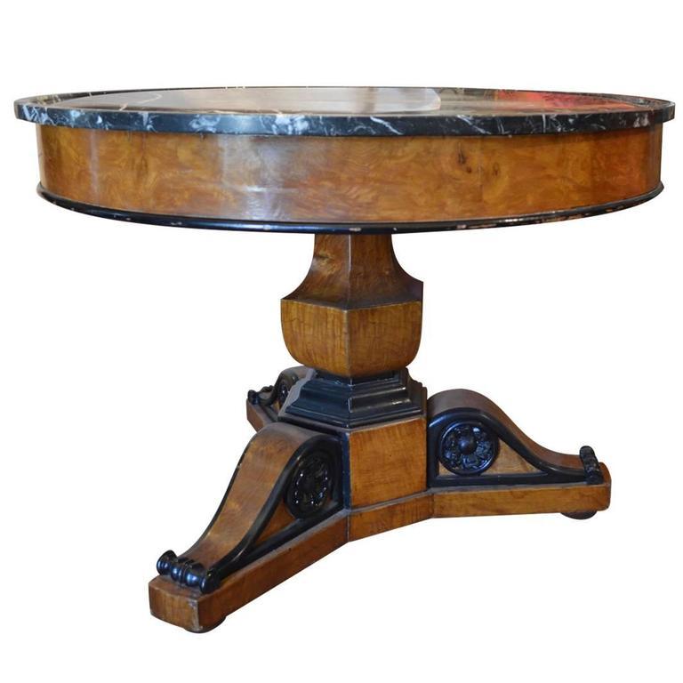 Antique Walnut Burl Wood Marble Top Pedestal Table With Ebonized Trim For  Sale