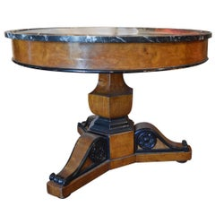 Antique Walnut Burl Wood Marble-Top Pedestal Table with Ebonized Trim