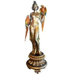 Monumental Bronze Polychrome Signed Statue on Pedestal