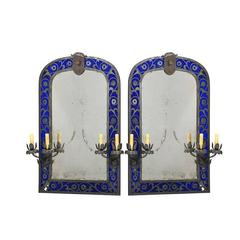 Beautiful Pair of Renaissance Style Girandole Mirrors with Cobalt Blue Glass