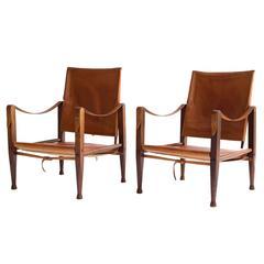 Pair of Kaare Klint 'Safari Chairs' for Rud. Rasmussen