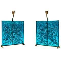"Pair of Lamp Resin Fractal ""Blue Lagon"""
