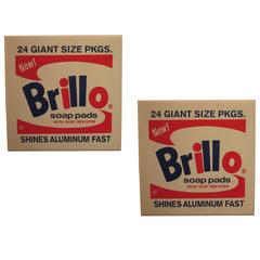 Pair of Brillo Box Pouf by Andy Warhol for Quinze & Milan