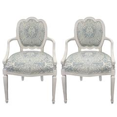 Pair of White Hepplewhite Style Quadrille Upholstered Armchairs