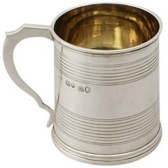 Sterling Silver Christening Mug, Antique Victorian