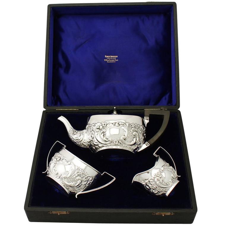 Sterling Silver Three-Piece Tea Service, Antique Victorian