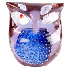 Murano Gino Cenedese Art Glass Owl with Controlled Bubbles
