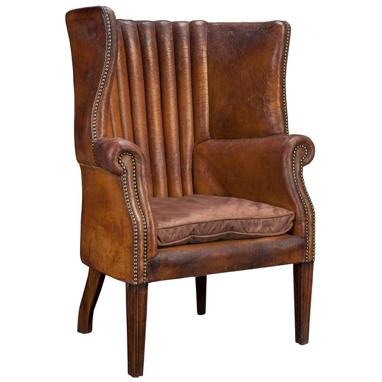 Barrel Back Leather Wing Chair At 1stdibs