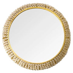Midcentury Modern Palwa Gilded Brass Round Mirror Decorated with Crystals