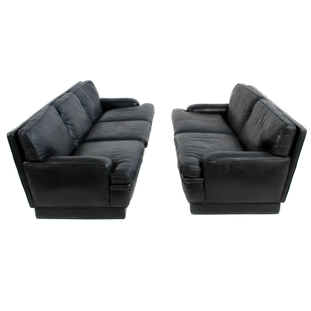 Swedish MidCentury Modern Black Leather Sofa by Arne Norell at