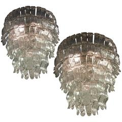 Spectacular Pair of Chandeliers by Barovier & Toso, 1970s