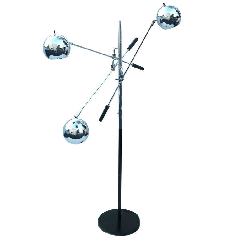 Robert Sonneman Triennale Atomic Orbiter Chrome Floor Lamp For Sale