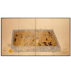Japanese Screen, Goldfish in a Fish Basin
