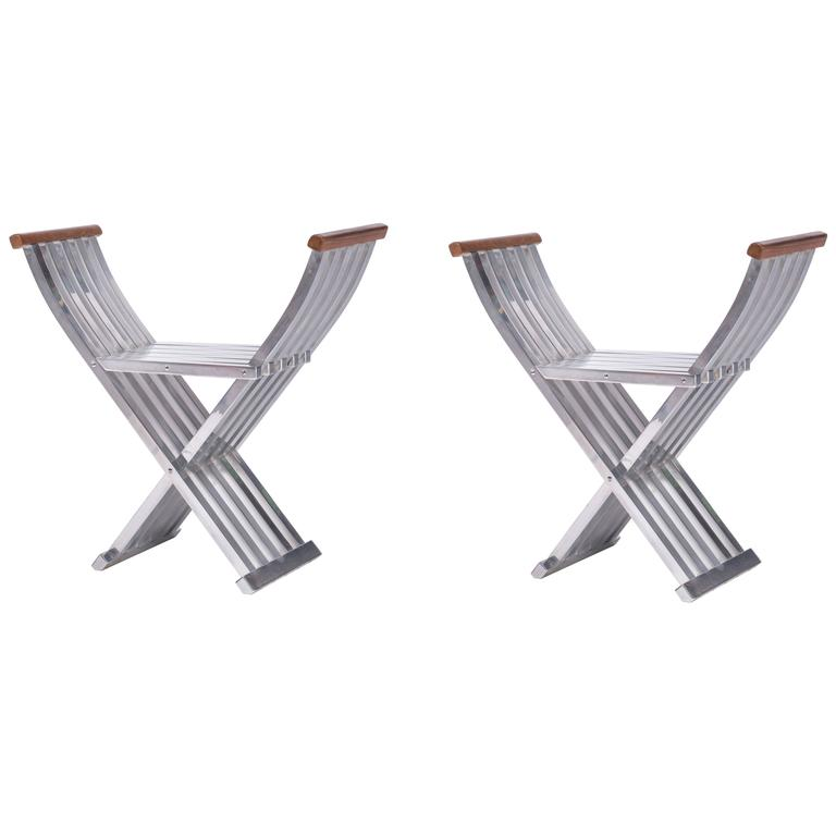 Pair of Folding Benches - Stools by John Vesey For Sale