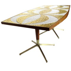 Mosaic Dining Table Writing Desk with Mahogany and Bronze Bases, circa 1958